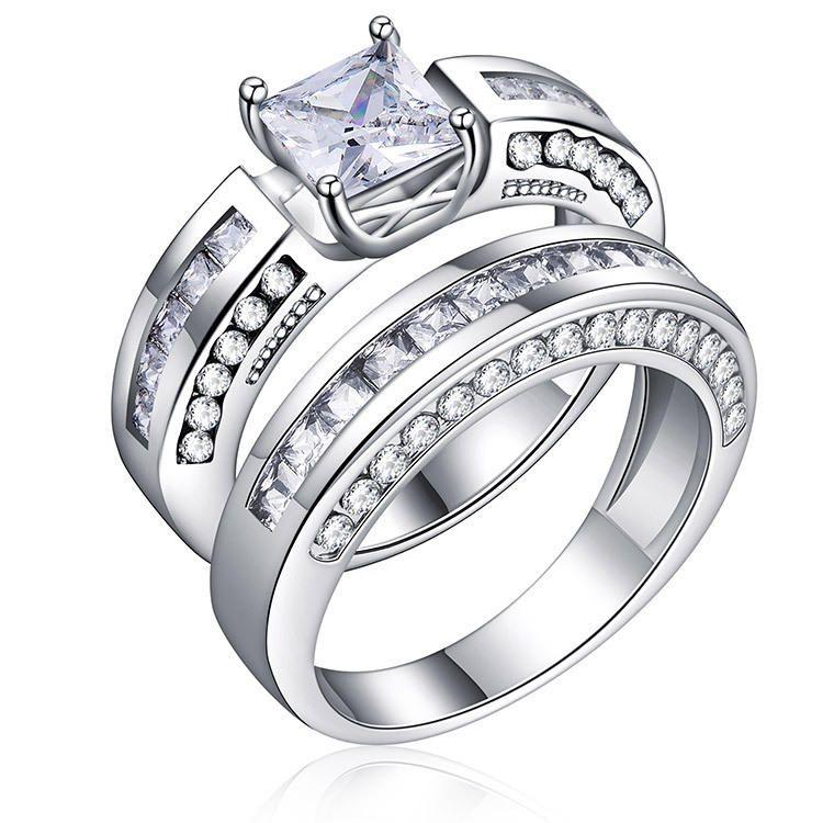 2 Pcs Set Classic Cubic Zirconia Womens Ring Bridal Wedding Platinum Band Finger Rings For Women