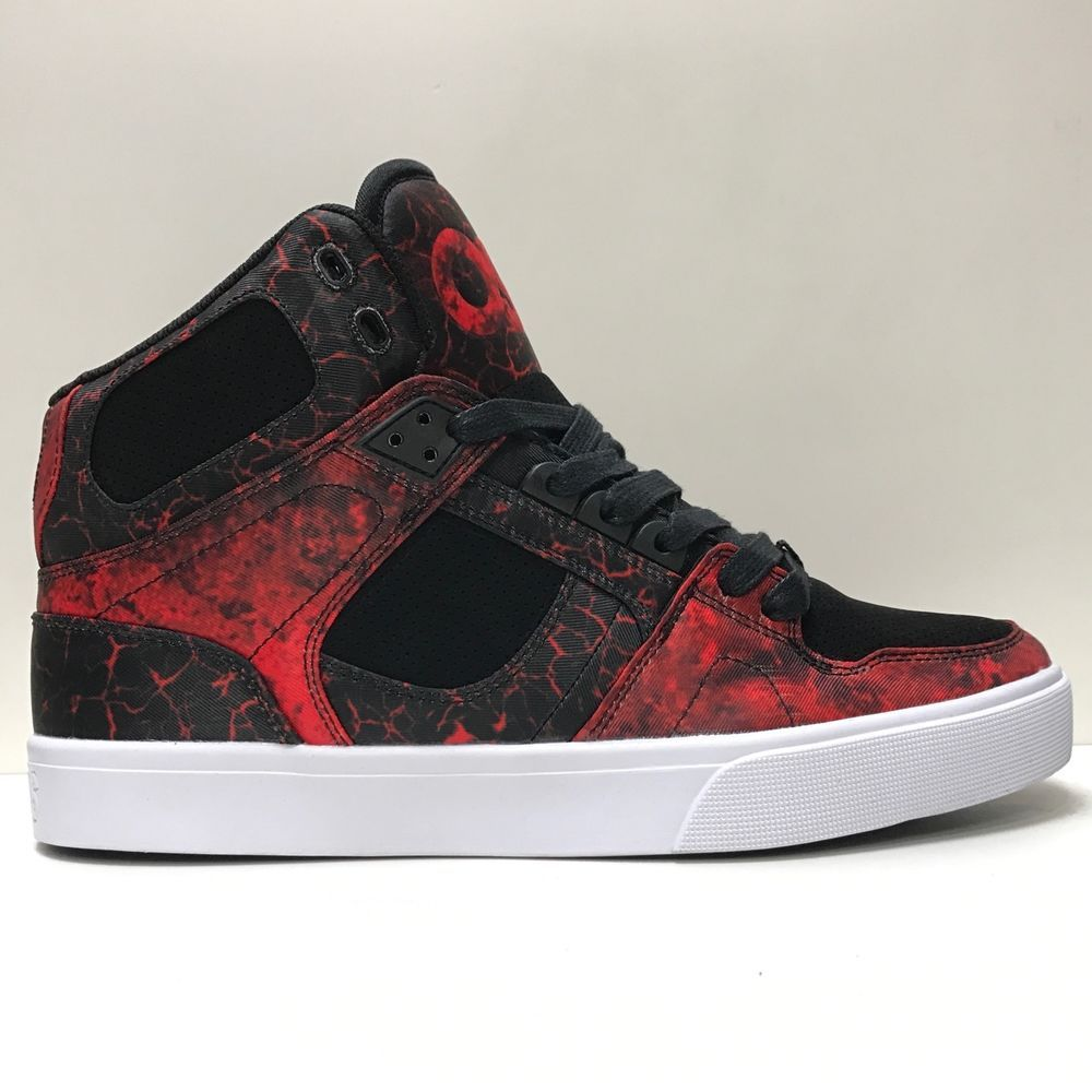 OSIRIS SHOES NYC 83 VULC MOLTEN BLACK RED HI TOP TRAINERS