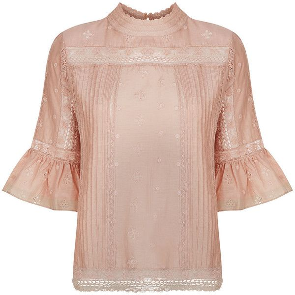 Ulla Johnson Dusty Rose Fluted Annushka Blouse (€305) ❤ liked on Polyvore featuring tops, blouses, floral print blouse, lace top, pintuck blouse, elbow length sleeve tops and lace sleeve top