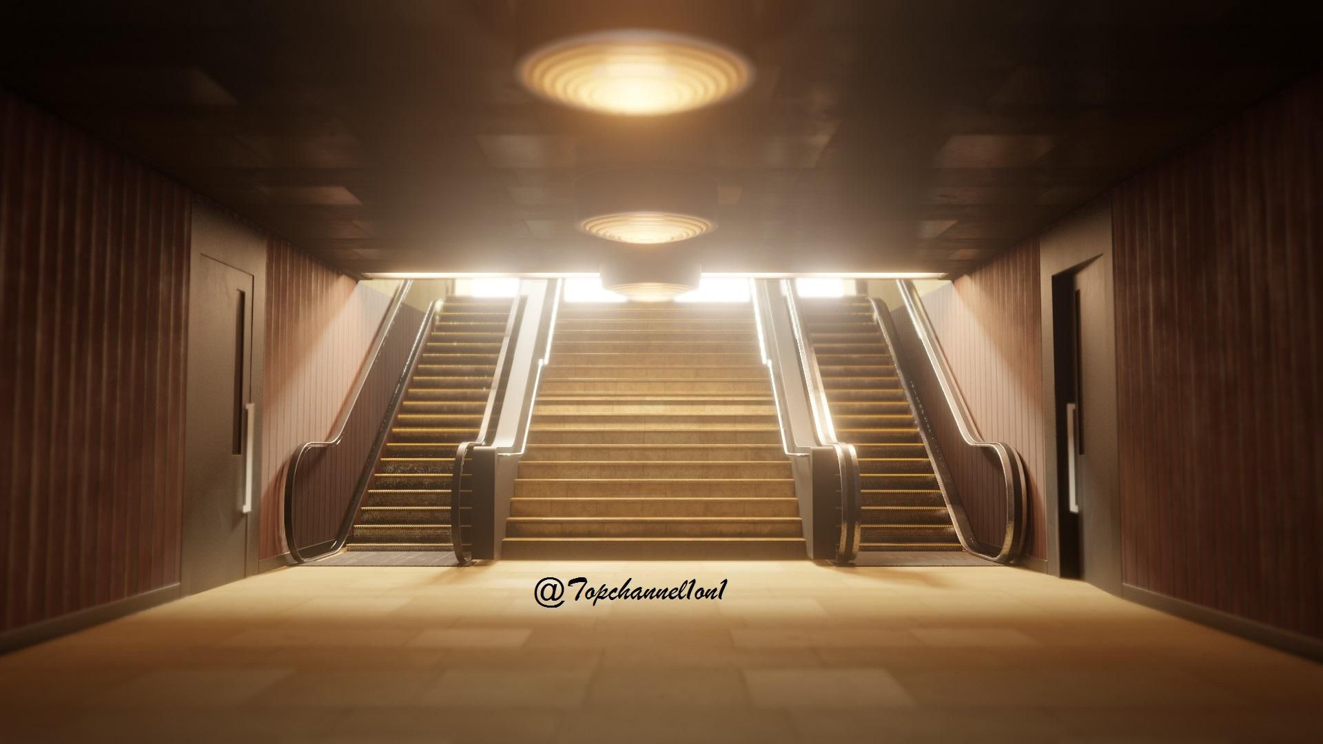 subway entrance textured and lighting blender eevee in