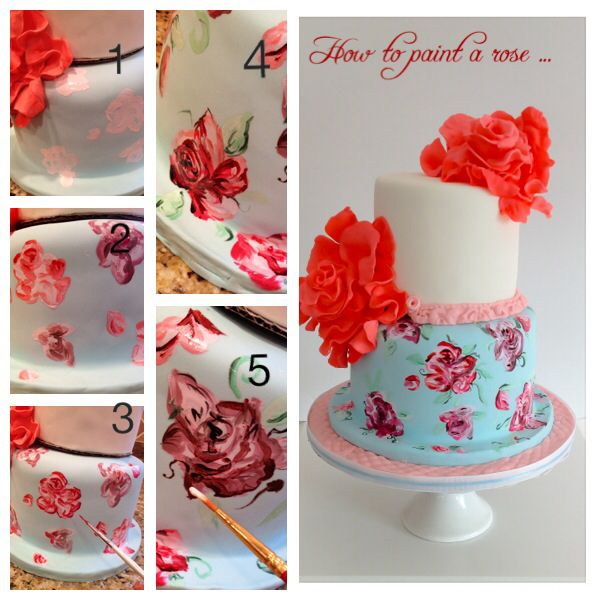 Tutorial On How To Paint A Rose Sweet Samantha Com Cake Decorating Cake Sweet