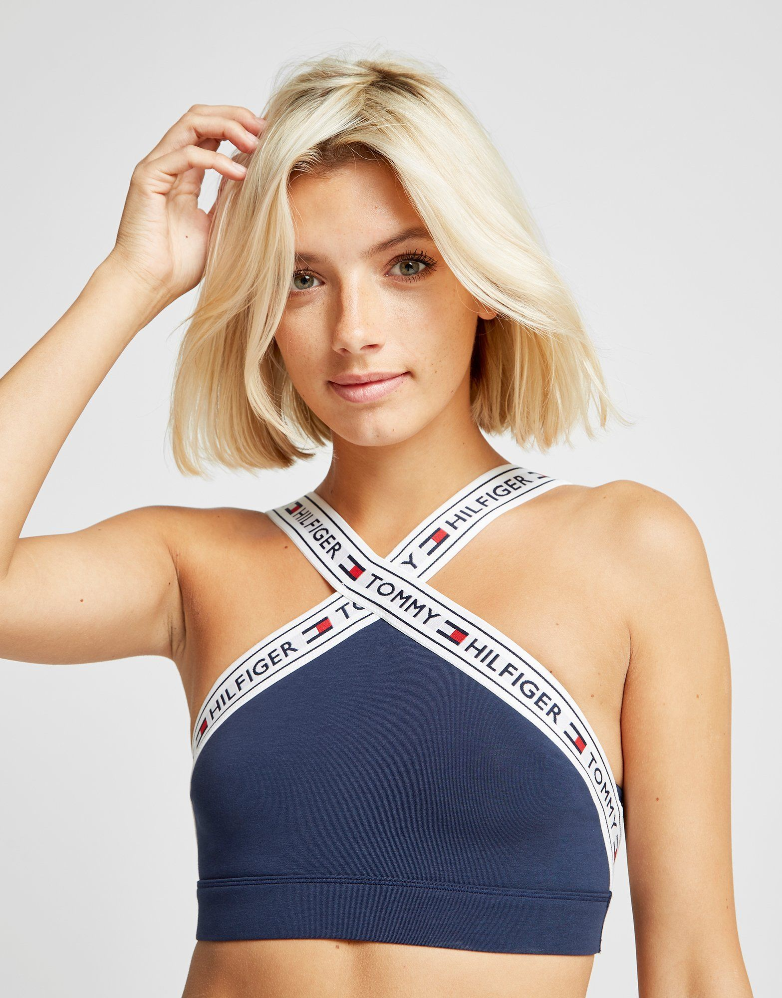 2873734891 Tommy Hilfiger Branded Cross-Neck Bralette - Shop online for Tommy Hilfiger  Branded Cross-Neck Bralette with JD Sports