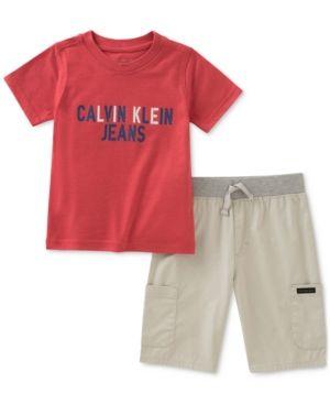 414ec7537f5c Calvin Klein 2-Pc. Graphic-Print T-Shirt & Shorts Set, Toddler Boys - Red/ Khaki 3T