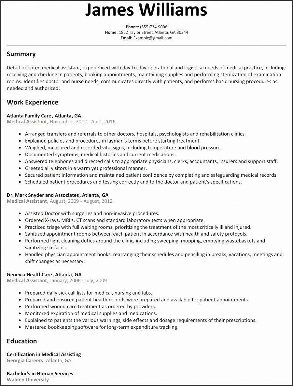 Medical Resume Template Microsoft Word