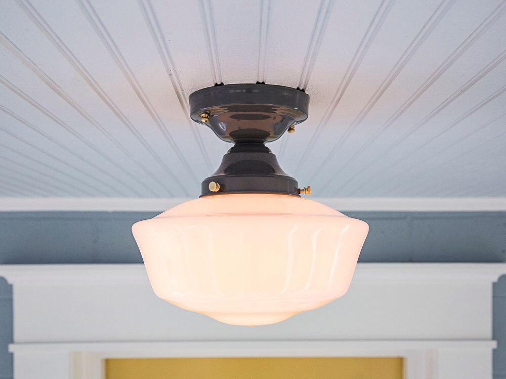 Vintage Rewired Farmhouse Semi Flush Mount Schoolhouse Ceiling Light Fixture Grey Gray Br
