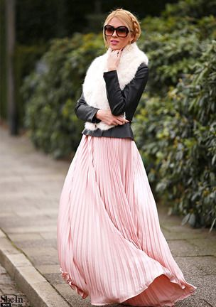 0ad6003575 Pink Pleated Maxi Skirt -SheIn(Sheinside)   Wedding in 2019   Beach ...