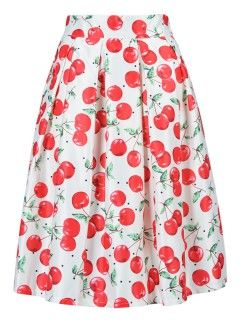 Shop Cherry Print Mid Skater Dress In White from choies.com .Free shipping Worldwide.$13.9