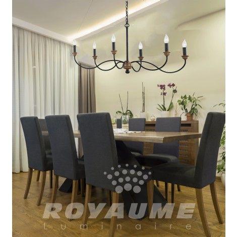 Suspendu zinc foncé avec accent couleur chêne, idéal pour salle à