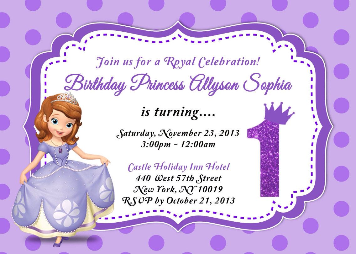 Sofia The First Birthday Invitation By Asapinvites On Etsy - Sofia the first party invitation template