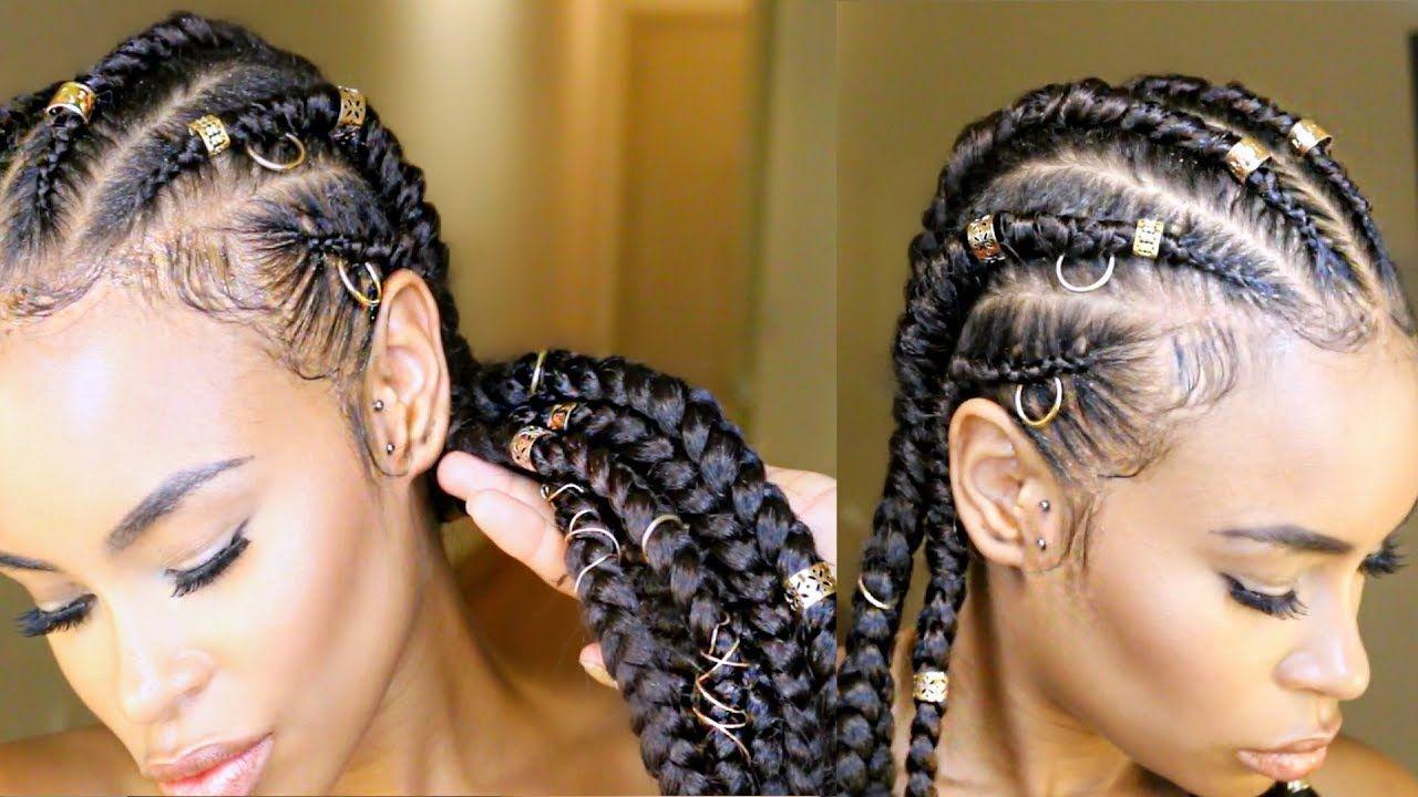 How to do jumbo feedin cornrow braids natural hair protective