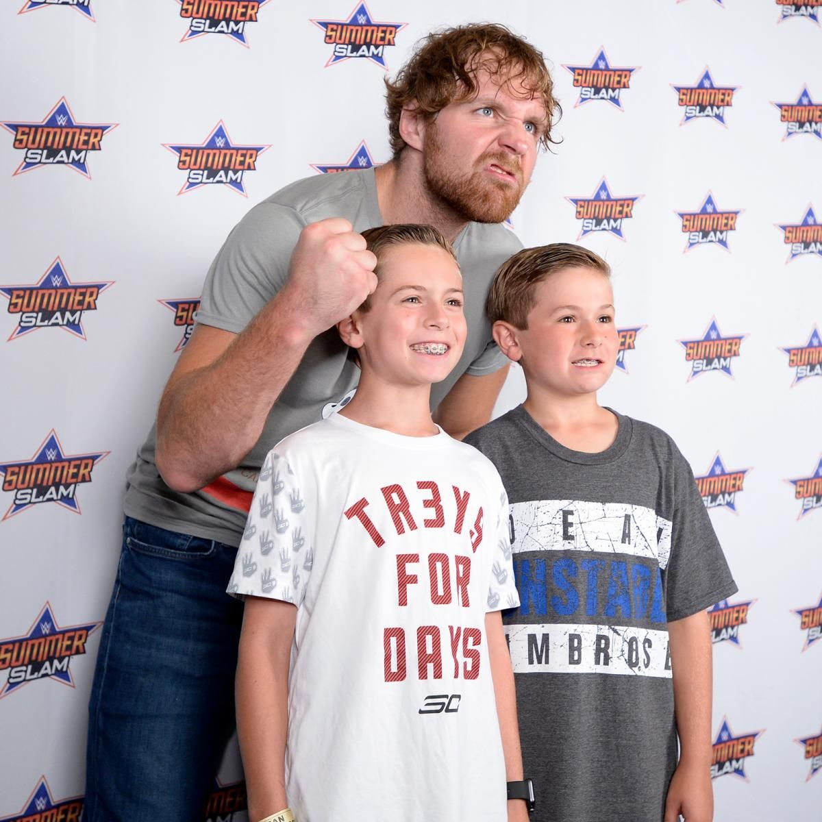 Aj styles and dean ambrose engage the fans in a special summerslam aj styles and dean ambrose engage the fans in a special summerslam meet greet kristyandbryce Choice Image