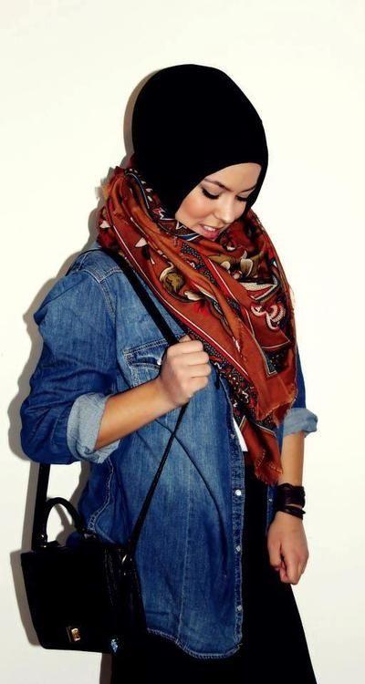 denim shirt, tribal scarf