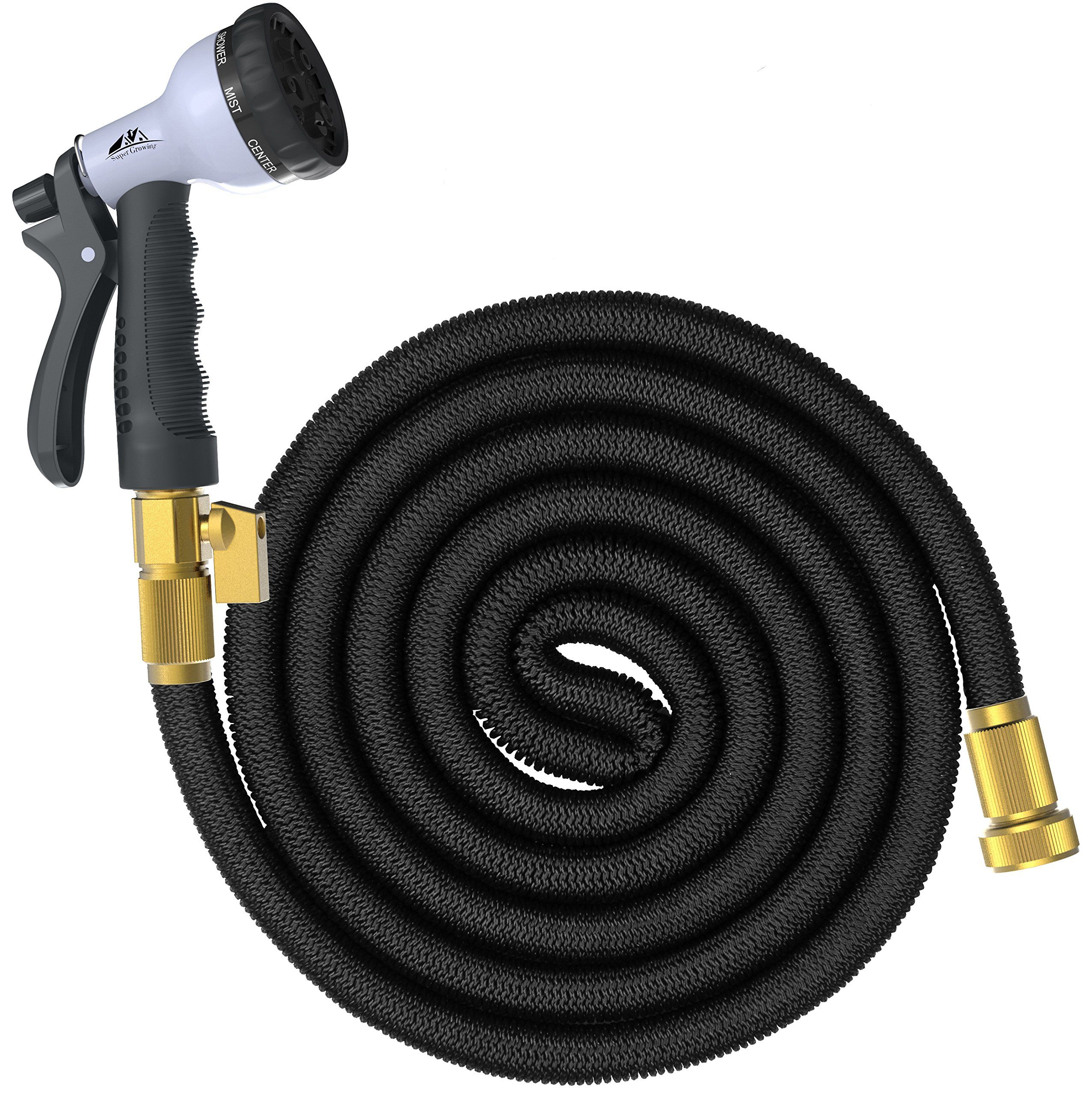 100 ft garden hose. supergrowing 100 feet flexible expandable rubber garden hose with solid brass connector and valve,double ft u