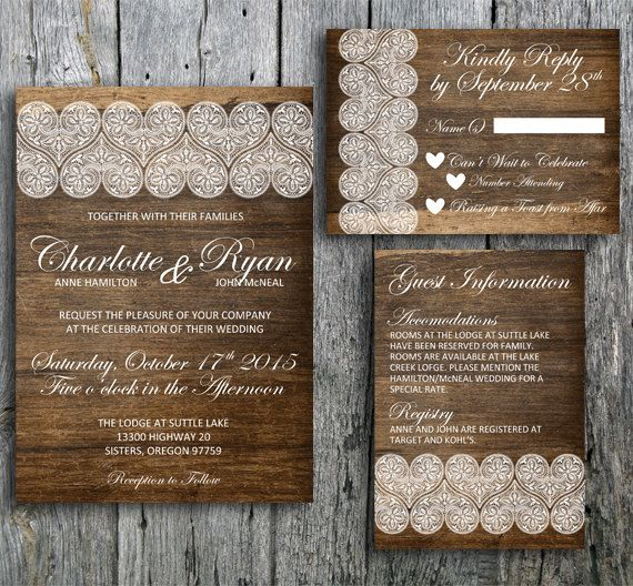 Rustic Wedding Invitation Fonts: Country Chic Wedding Invitation Set With Lace On A Wood