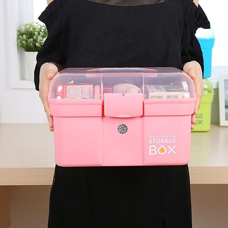 Practical Design Home Use Medicine Box First Aid Kit Box Plastic Container Emergency Kit Portable Storage Org Medicine Storage First Aid Kit Box Medicine Boxes