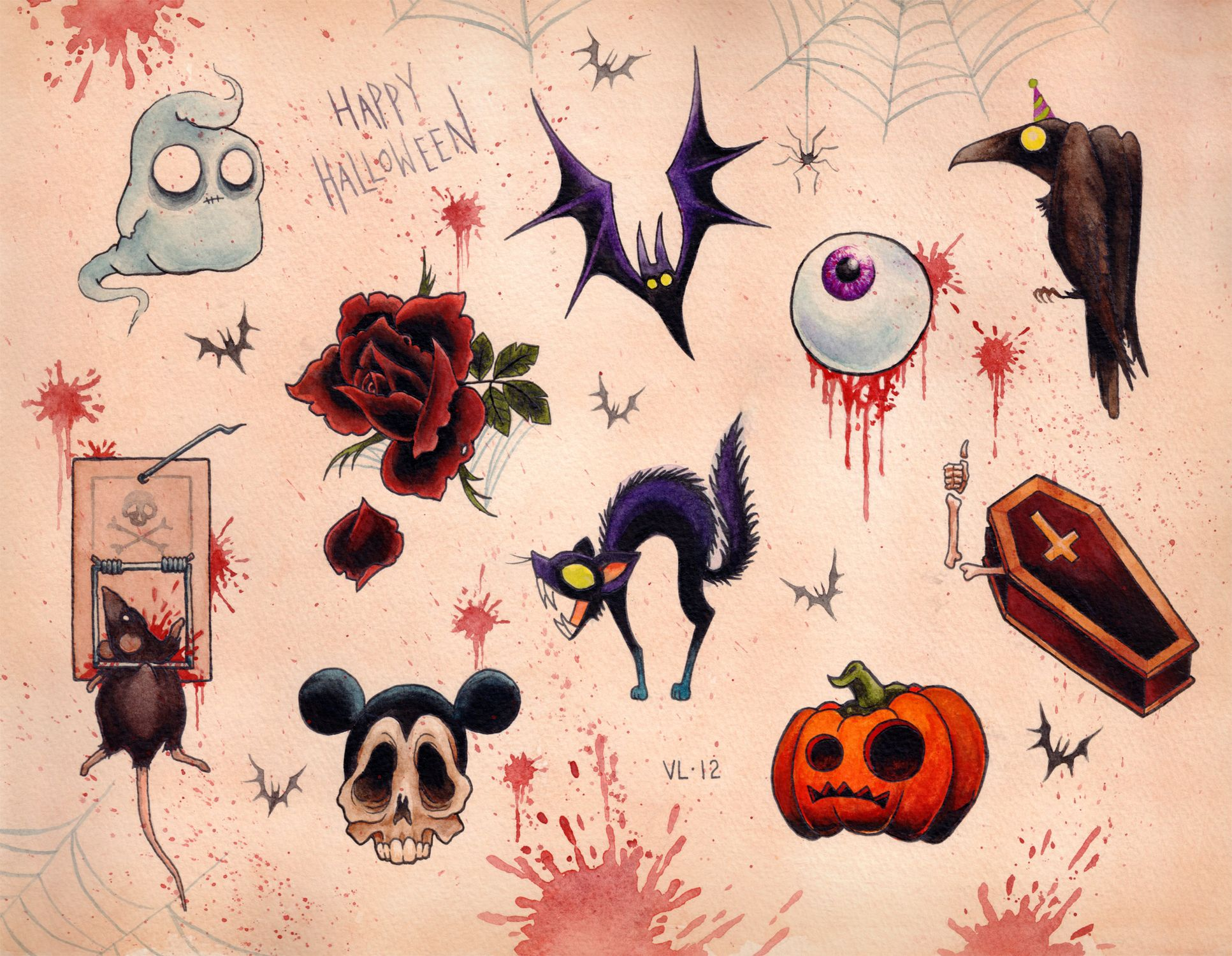 Halloween flash Cute halloween tattoos, Halloween