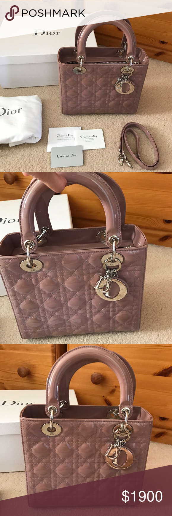 Dior Bag 100% Authentic Lady Dior. Cannage Patent Leather. Color  Pale  pinkish d77160fe191bd
