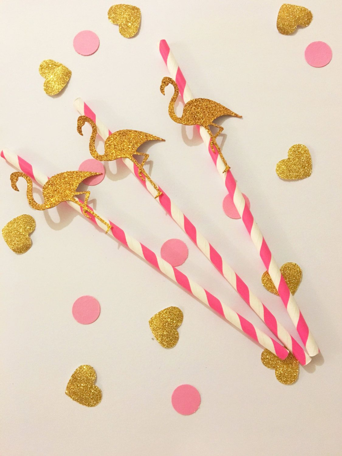 Glitter/ pink Flamingo themed party paper straws birthday baby ...