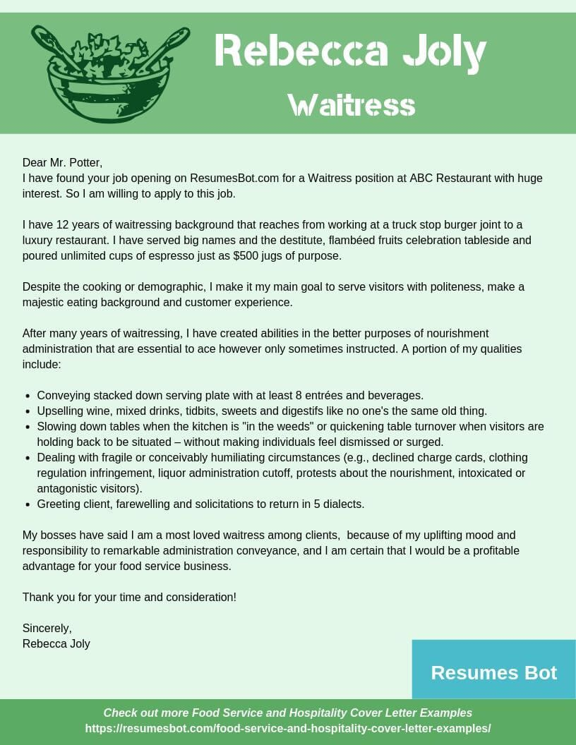 Waitress Cover Letter Samples Templates Pdf Word 2019 Cover