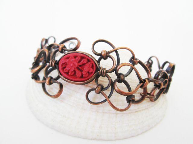 Manmade Cinebar Copper Cuff Bracelet