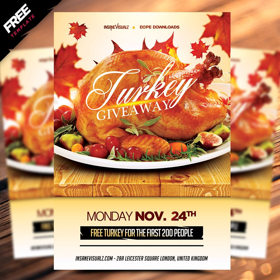 Turkey Giveaway Free Flyer Is A 100 Free Photoshop Psd Flyer