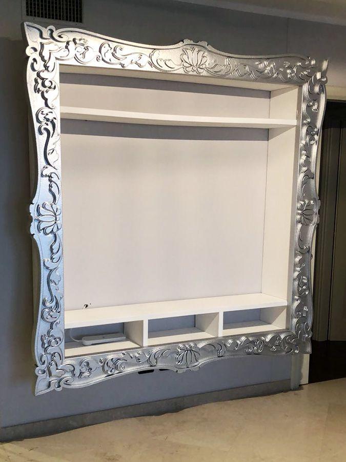 Mobile porta tv con cornice barocca argento dim. 200x200x36 cm ...
