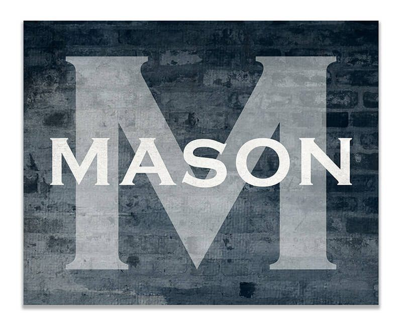 Personalized Boy's Name with Monogram Print Wall Art