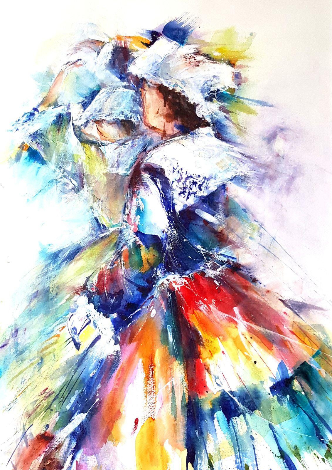 Belles Bretonnes Danse Aquarelles Bogard Cavarec Peinture Bretonne Breton Peinture