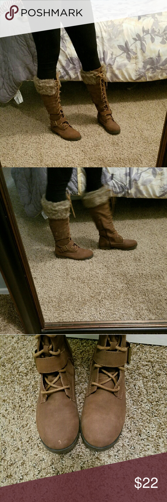 Soft brown lace up boots These are so soft and very warm. There is a side zipper to put them on. They lace up and have fur trim that keeps you so warm during the winter months. Small scuff on the toe shown in the 3rd pic. JustFab Shoes Lace Up Boots