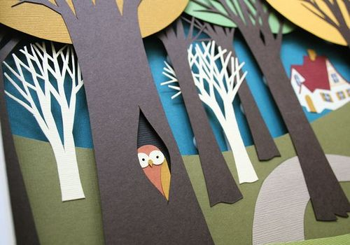 Photo of Little Red Riding Hood Paper Diorama, detail of owl by mmmcrafts, via Flickr