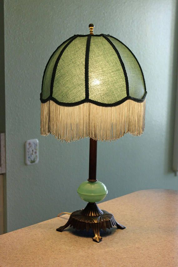 Brass jadeite glass table lamp dome fringed shade 1940s