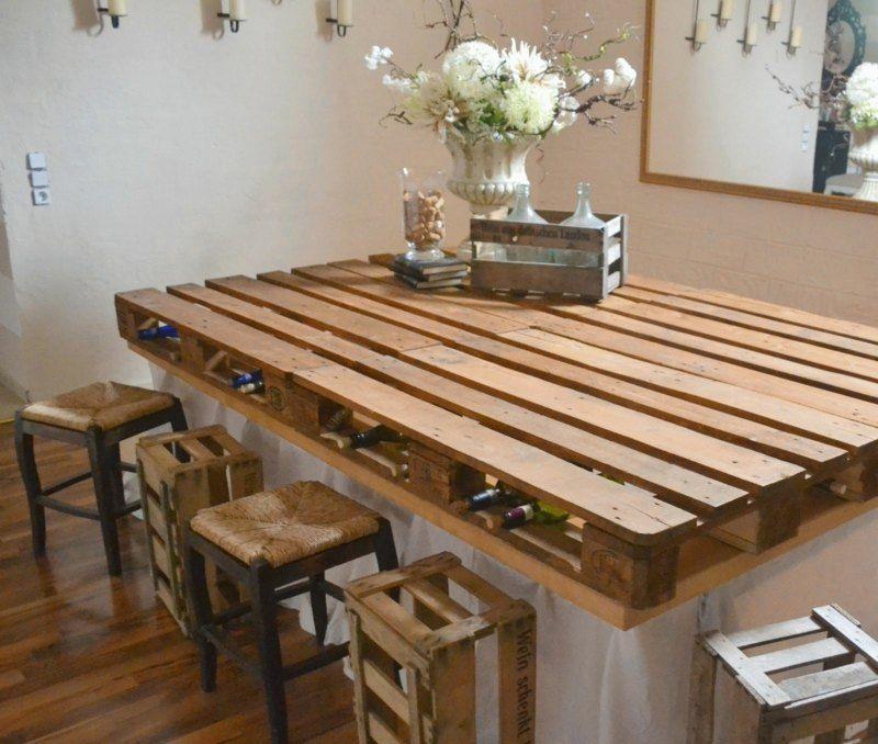 Kücheninsel mit theke selber bauen  Aus Europaletten eine Kücheninsel oder improvisierten Tisch bauen ...