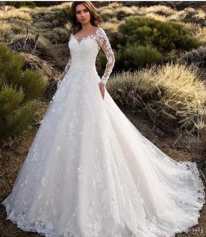 Sheer Lace Applique Long Sleeve Wedding Dress V Neck: Long Sleeve Wedding Dresses Modest With Pockets Lace