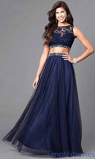 Formal TwoPiece Long Prom Dress with Lace Bodice