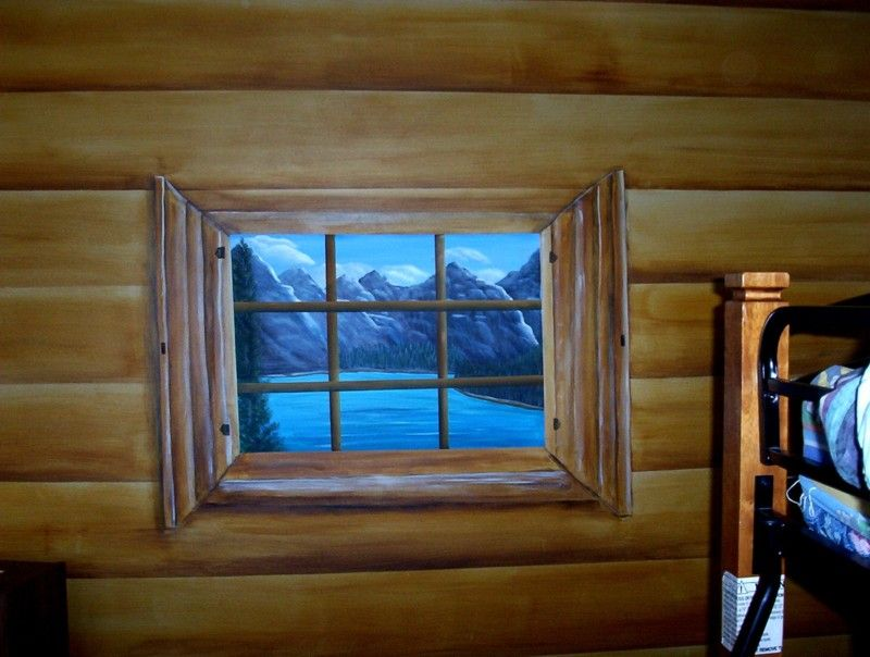 Log Cabin Window Faux Painted Log Cabin Bedroom Makeover Windows