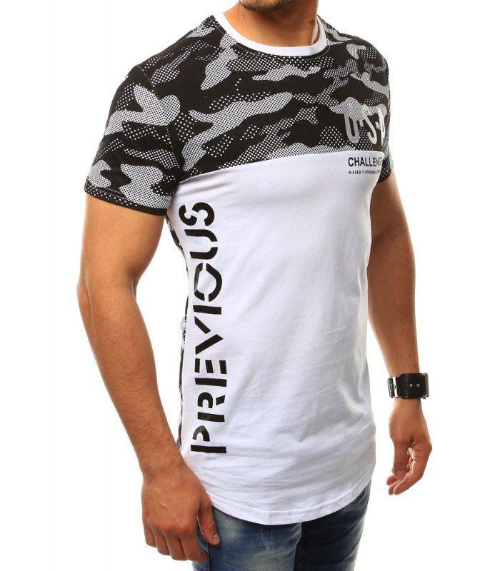 54857fa445aa Pánske tričko s potlačou U.S.A. bielo-čierne