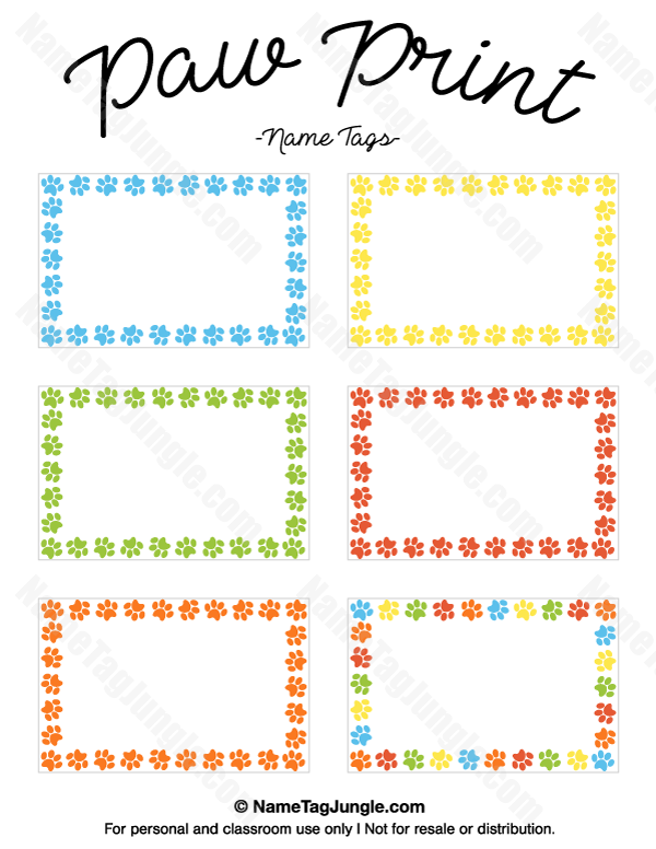 free printable paw print name tags  the template can also be used for creating items like labels