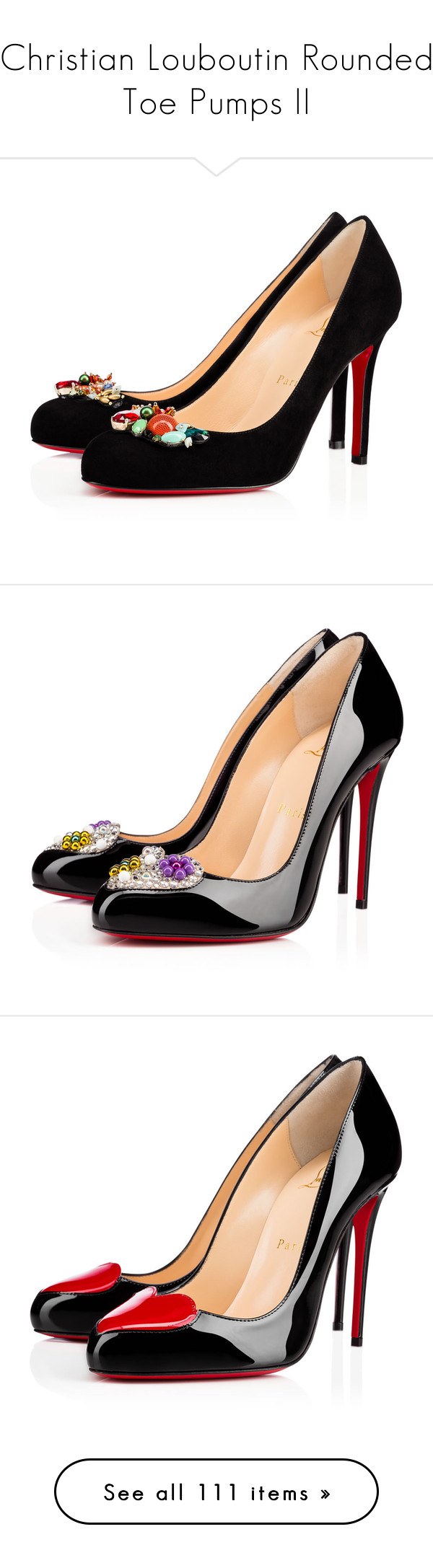 """Christian Louboutin Rounded Toe Pumps II"" by sakuragirl ❤ liked on Polyvore featuring shoes, multi colored shoes, multicolor shoes, multi color shoes, colorful shoes, black shoes, christian louboutin, louboutin, pumps and heels"