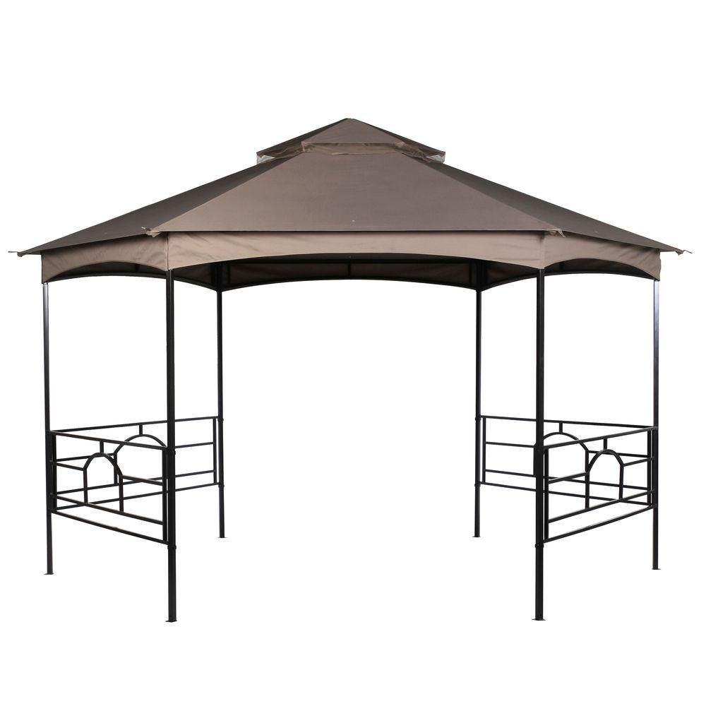 Quick Set 13 Ft Brown Hex Shaped Garden House 5sgz1811 Nn At The Home Depot Lattice Patio Home And Garden Pergola With Roof