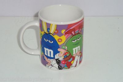 M's Red Blue Yellow Green Candy Easter Ceramic Coffee Mug M