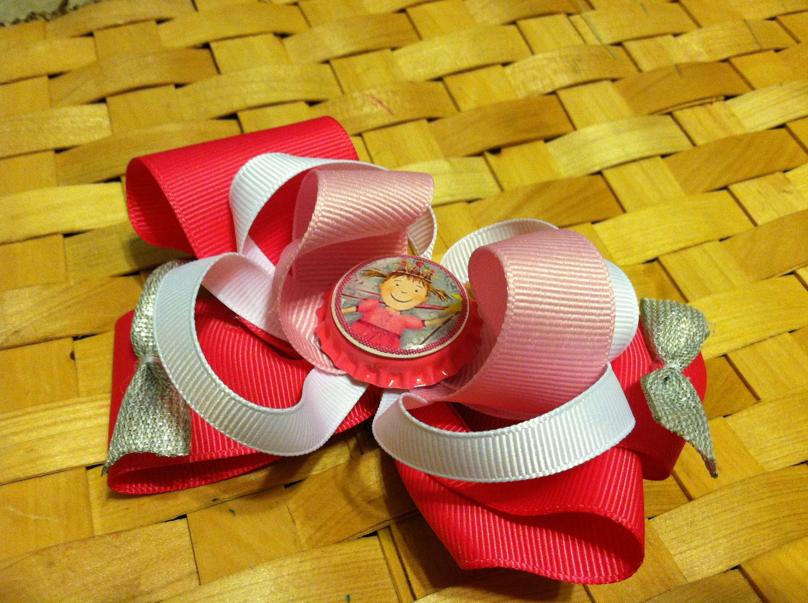 Pinkalicious boutique bow stacked with loops, boutique and twisty topper. (I made the cap image)