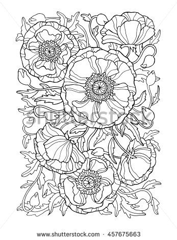 poppy flowers floral pattern background vector artwork coloring book page for adult - Artwork Coloring Pages