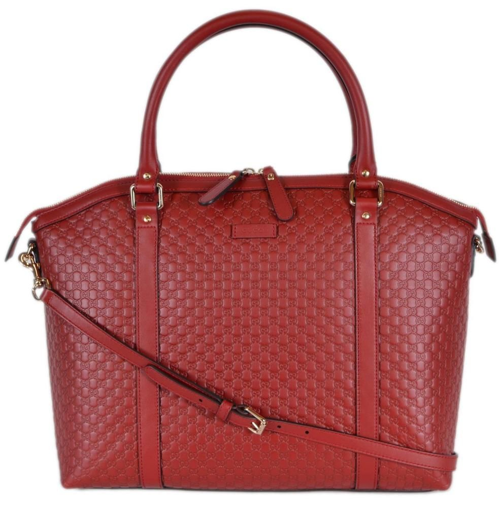 f14d1f21960 NEW Gucci 449658 Large Red Leather Micro GG Guccissima Crossbody Satchel  Purse #Gucci #Satchel