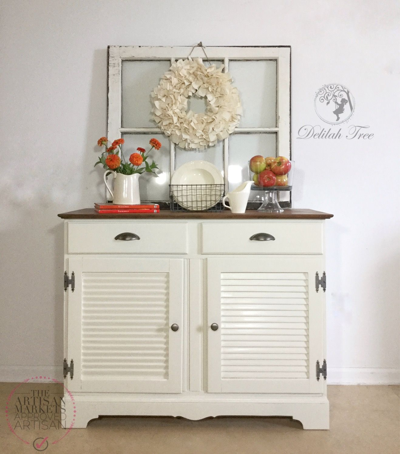 Refinished Buffet Cabinet in General Finishes Antique White by ...