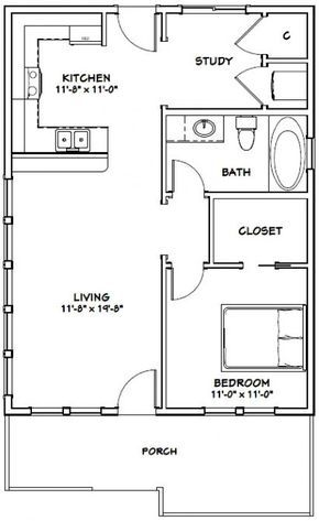 Details About 24x32 House 1 Bedroom 1 Bath Pdf Floor Plan 768 Sq Ft Model 1 With Images Small House Floor Plans Tiny House Floor Plans Small Floor Plans