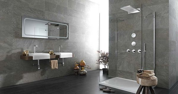 Exceptional Contemporary Bathroom Designs With Relaxing Ambience Modern Grey Bathroom With White Washing Stand