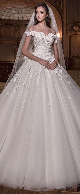 Junoesque Tulle Off-the-shoulder Neckline Ball Gown Wedding Dress