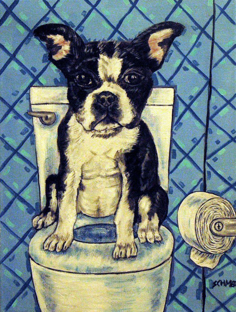 BOSTON TERRIER dog in the bathroom wall art dog art print from ...