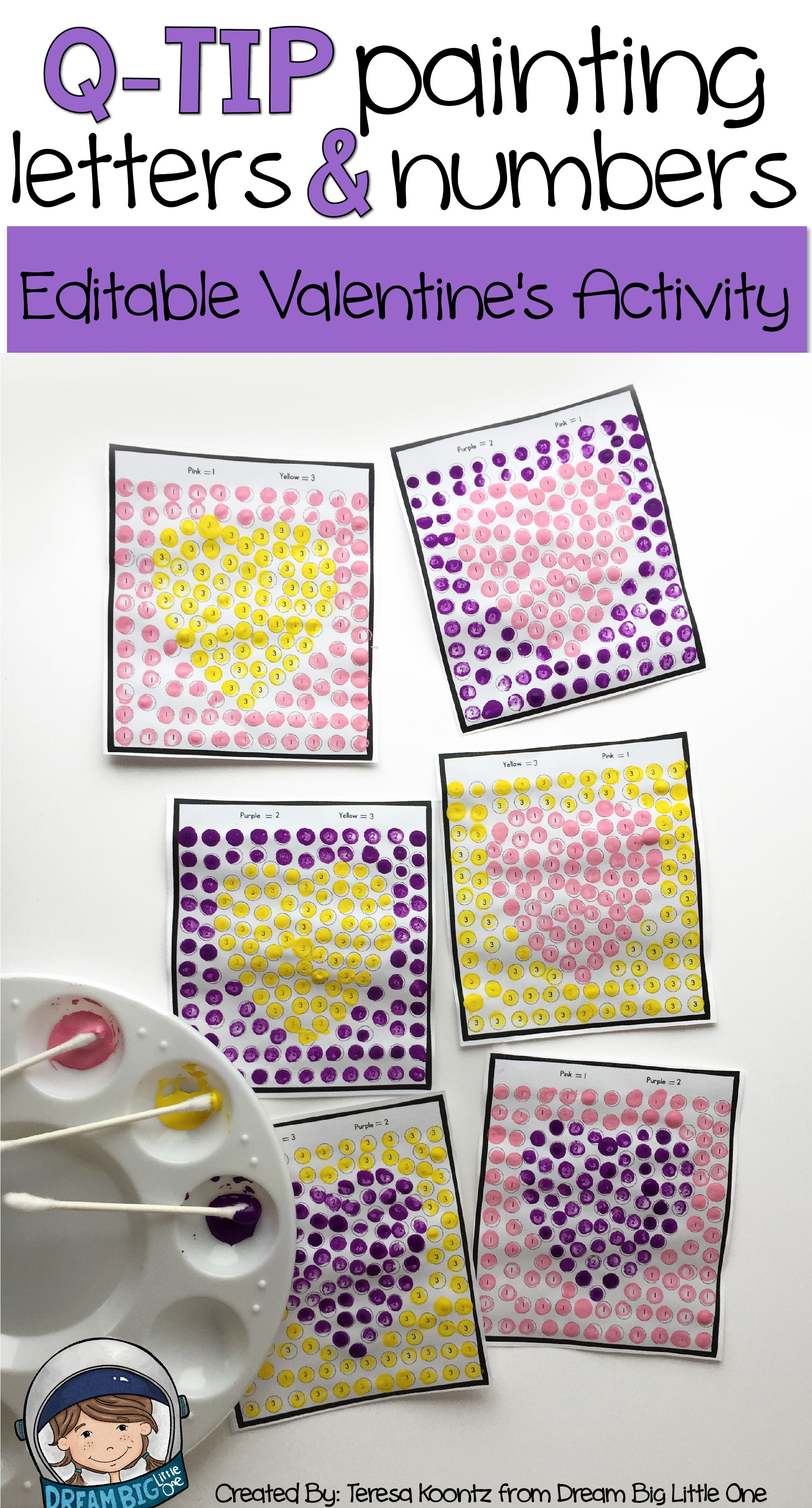 Editable Valentine S Math Or Literacy Activity With Q Tips