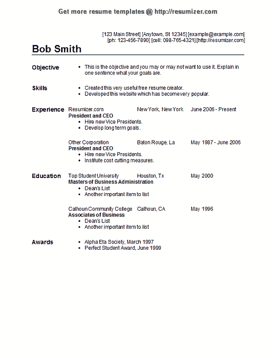 resume example us